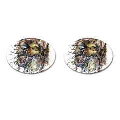 Angry And Colourful Owl T Shirt Cufflinks (oval) by AmeeaDesign