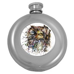 Angry And Colourful Owl T Shirt Round Hip Flask (5 Oz) by AmeeaDesign