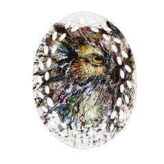 Angry And Colourful Owl T Shirt Ornament (oval Filigree) by AmeeaDesign