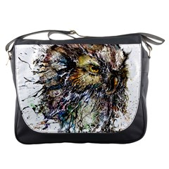 Angry And Colourful Owl T Shirt Messenger Bags by AmeeaDesign