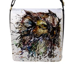 Angry And Colourful Owl T Shirt Flap Messenger Bag (l)  by AmeeaDesign