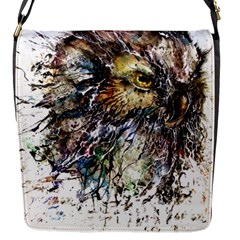 Angry And Colourful Owl T Shirt Flap Messenger Bag (s) by AmeeaDesign