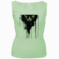 Angry Cat T Shirt Women s Green Tank Top by AmeeaDesign