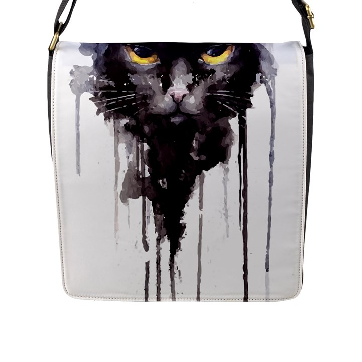 Angry Cat T Shirt Flap Messenger Bag (L)