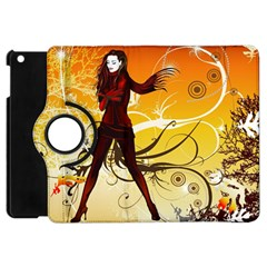 Girl Autumn Grass  Apple Ipad Mini Flip 360 Case by amphoto