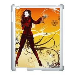 Girl Autumn Grass  Apple Ipad 3/4 Case (white) by amphoto