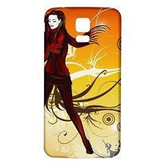 Girl Autumn Grass  Samsung Galaxy S5 Back Case (white) by amphoto
