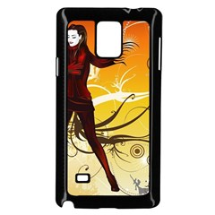 Girl Autumn Grass  Samsung Galaxy Note 4 Case (black) by amphoto
