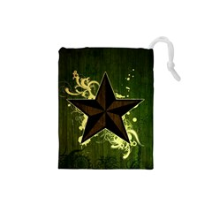 Star Dark Pattern  Drawstring Pouches (small)  by amphoto