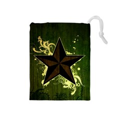 Star Dark Pattern  Drawstring Pouches (medium)  by amphoto