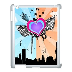 Couple Hugging Heart Apple Ipad 3/4 Case (white) by amphoto