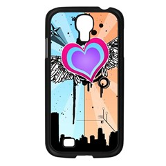 Couple Hugging Heart Samsung Galaxy S4 I9500/ I9505 Case (black) by amphoto