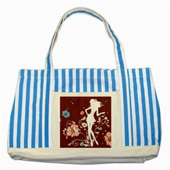 Girl Flowers Silhouette  Striped Blue Tote Bag by amphoto