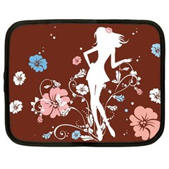 Girl Flowers Silhouette  Netbook Case (large) by amphoto