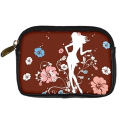 Girl Flowers Silhouette  Digital Camera Cases by amphoto