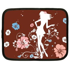 Girl Flowers Silhouette  Netbook Case (xxl)  by amphoto
