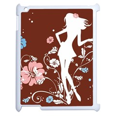 Girl Flowers Silhouette  Apple Ipad 2 Case (white) by amphoto
