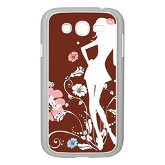 Girl Flowers Silhouette  Samsung Galaxy Grand Duos I9082 Case (white) by amphoto