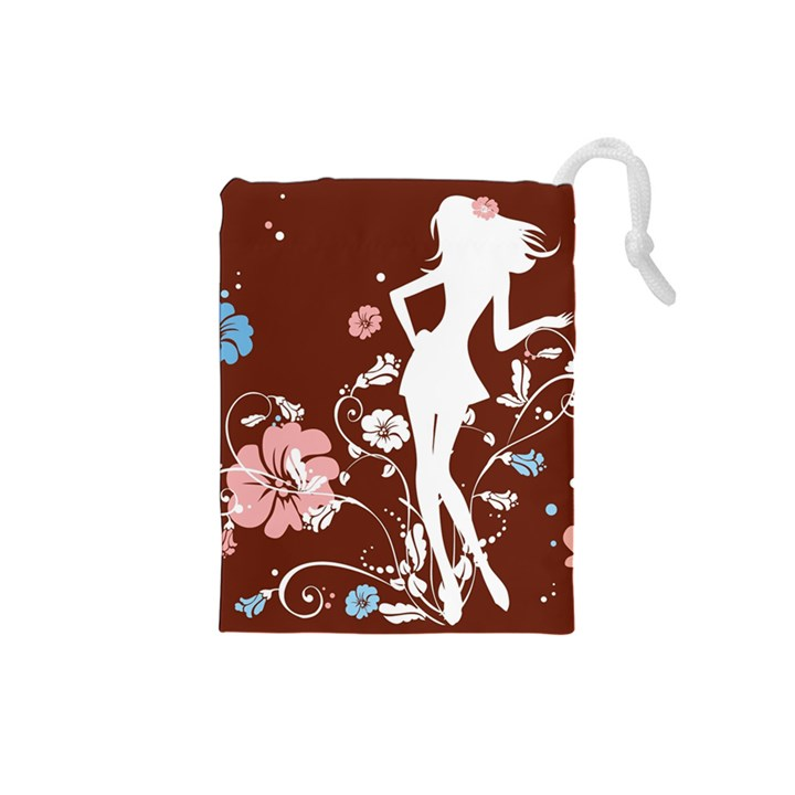 Girl Flowers Silhouette  Drawstring Pouches (Small)