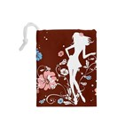 Girl Flowers Silhouette  Drawstring Pouches (Small)  Back