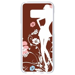 Girl Flowers Silhouette  Samsung Galaxy S8 White Seamless Case by amphoto