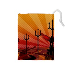 Wings Drawing Poles  Drawstring Pouches (medium)  by amphoto