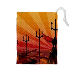 Wings Drawing Poles  Drawstring Pouches (large)  by amphoto