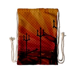 Wings Drawing Poles  Drawstring Bag (small) by amphoto