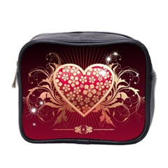 Heart Patterns Lines  Mini Toiletries Bag 2 Side by amphoto