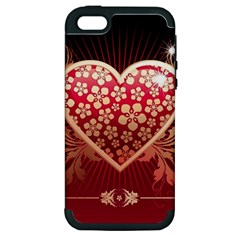 Heart Patterns Lines  Apple Iphone 5 Hardshell Case (pc+silicone) by amphoto