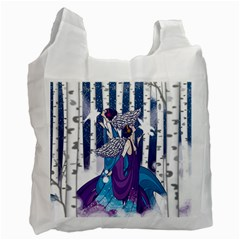 Girl Forest Trees Recycle Bag (two Side)  by amphoto