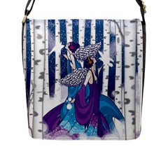 Girl Forest Trees Flap Messenger Bag (l)  by amphoto