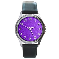 Purple Skin Leather Texture Pattern Round Metal Watch by paulaoliveiradesign