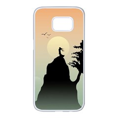 Cliff Mountain Tree  Samsung Galaxy S7 Edge White Seamless Case by amphoto