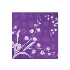 Flowers Leaves Purple  Satin Bandana Scarf