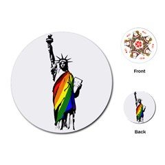 Pride Statue Of Liberty  Playing Cards (round)  by Valentinaart
