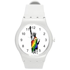Pride Statue Of Liberty  Round Plastic Sport Watch (m)