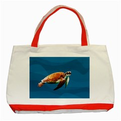 Sea Turtle Classic Tote Bag (red) by Valentinaart