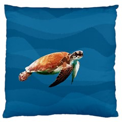 Sea Turtle Large Flano Cushion Case (two Sides) by Valentinaart