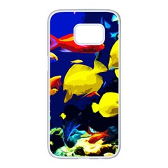 Tropical Fish Samsung Galaxy S7 Edge White Seamless Case by Valentinaart