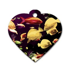 Tropical Fish Dog Tag Heart (two Sides) by Valentinaart