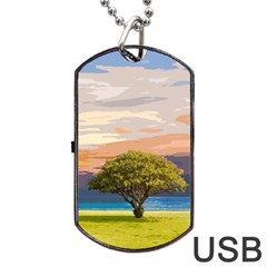 Landscape Dog Tag Usb Flash (one Side) by Valentinaart