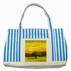Landscape Striped Blue Tote Bag