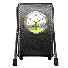 Landscape Pen Holder Desk Clocks by Valentinaart
