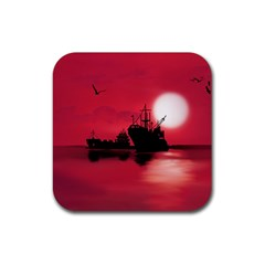 Open Sea Rubber Square Coaster (4 Pack)  by Valentinaart