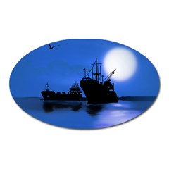 Open Sea Oval Magnet by Valentinaart