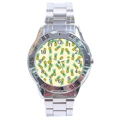 Pineapples Pattern Stainless Steel Analogue Watch