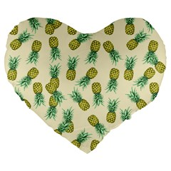 Pineapples Pattern Large 19  Premium Flano Heart Shape Cushions by Valentinaart