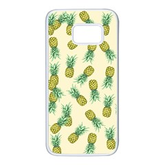 Pineapples Pattern Samsung Galaxy S7 White Seamless Case by Valentinaart