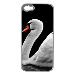 Swan Apple Iphone 5 Case (silver) by Valentinaart